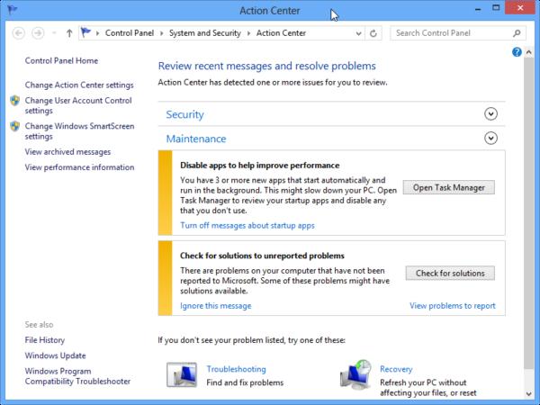 Windows Action Center