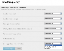 LinkedIn - Privacy and Settings - Communication - Email frequency