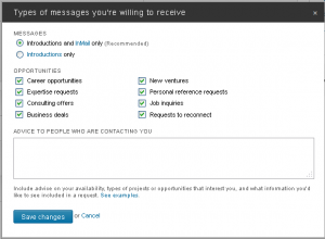 LinkedIn - Privacy and Settings - Communication - Member Communications - Types of messages
