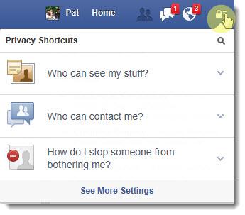 Facebook - Privacy Shortcuts menu