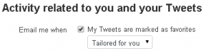 Twitter Settings Email me when