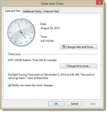 Windows Date and Time - Date and Time Tab