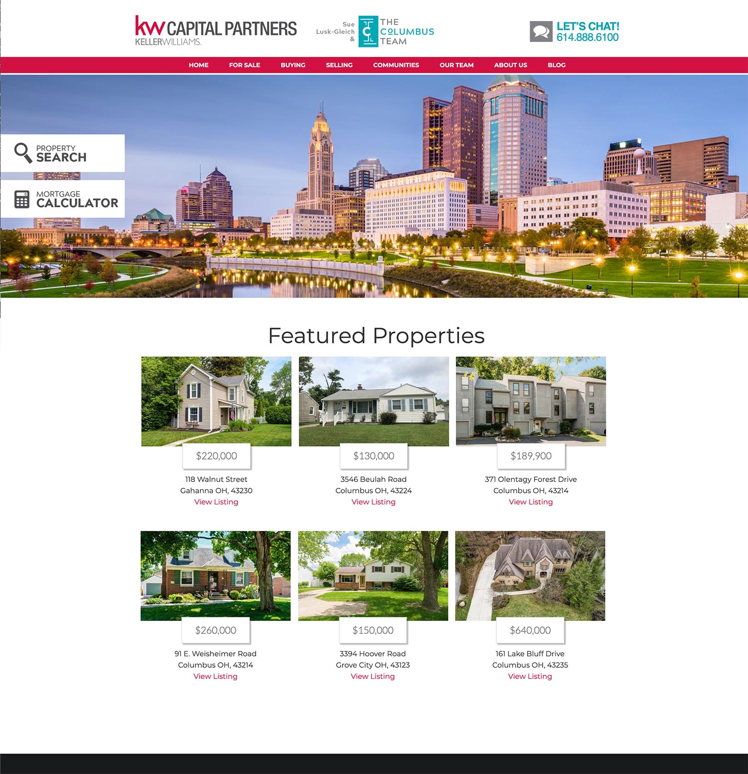 Updated design for The Columbus Team, Keller Williams Realty