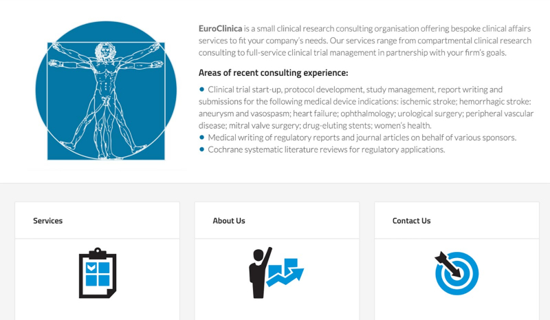 CyberCletch Portfolio Website: EuroClinica clinical research consulting firm