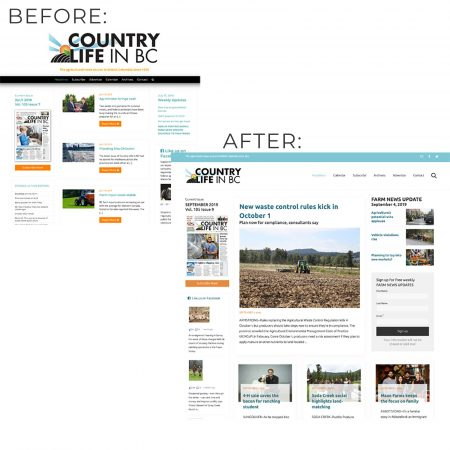 Country Life in BC home page before and after CyberCletch LLC redesigned the website.