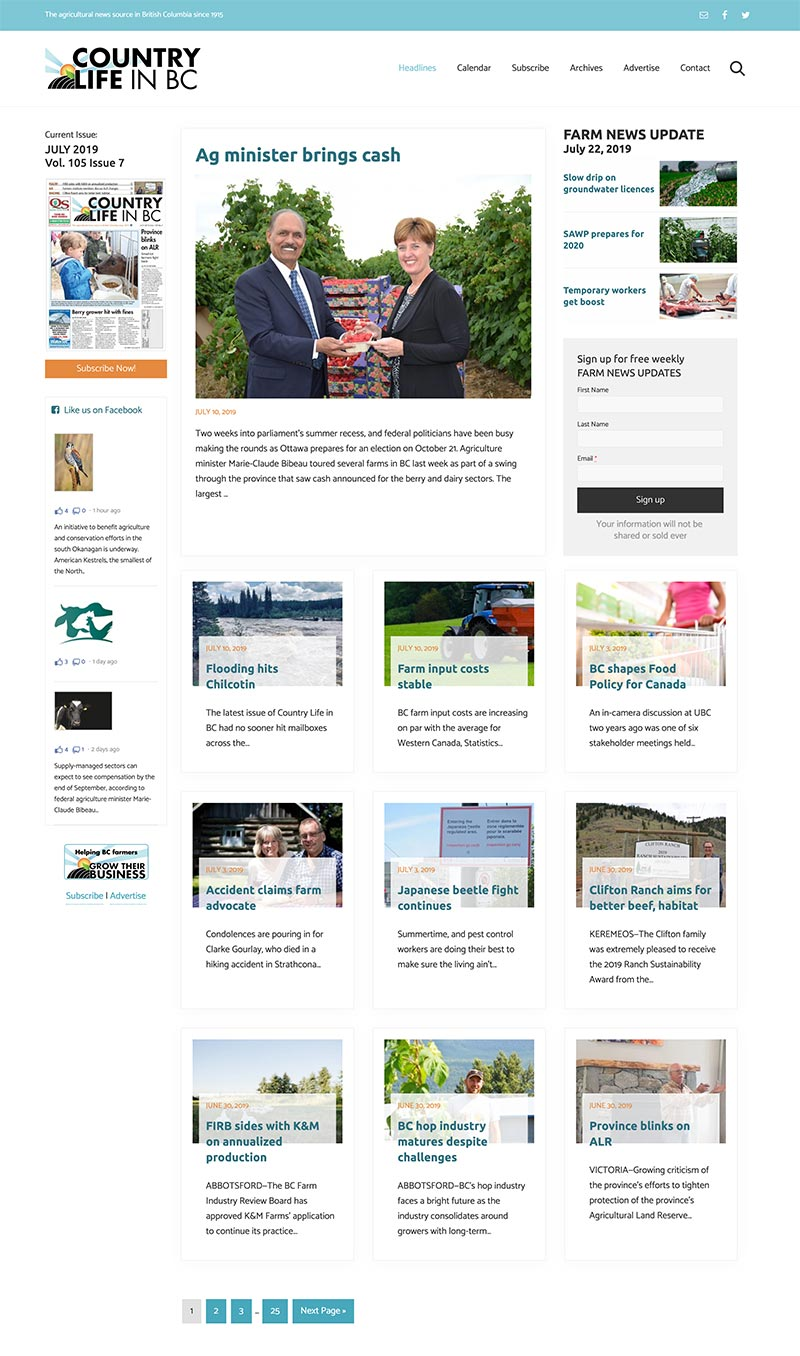 The new post archive page we laid out for the agricultural newspaper.