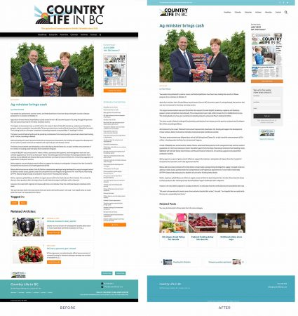 Before and after versions of the post pages we developed for the agricultural newspaper.