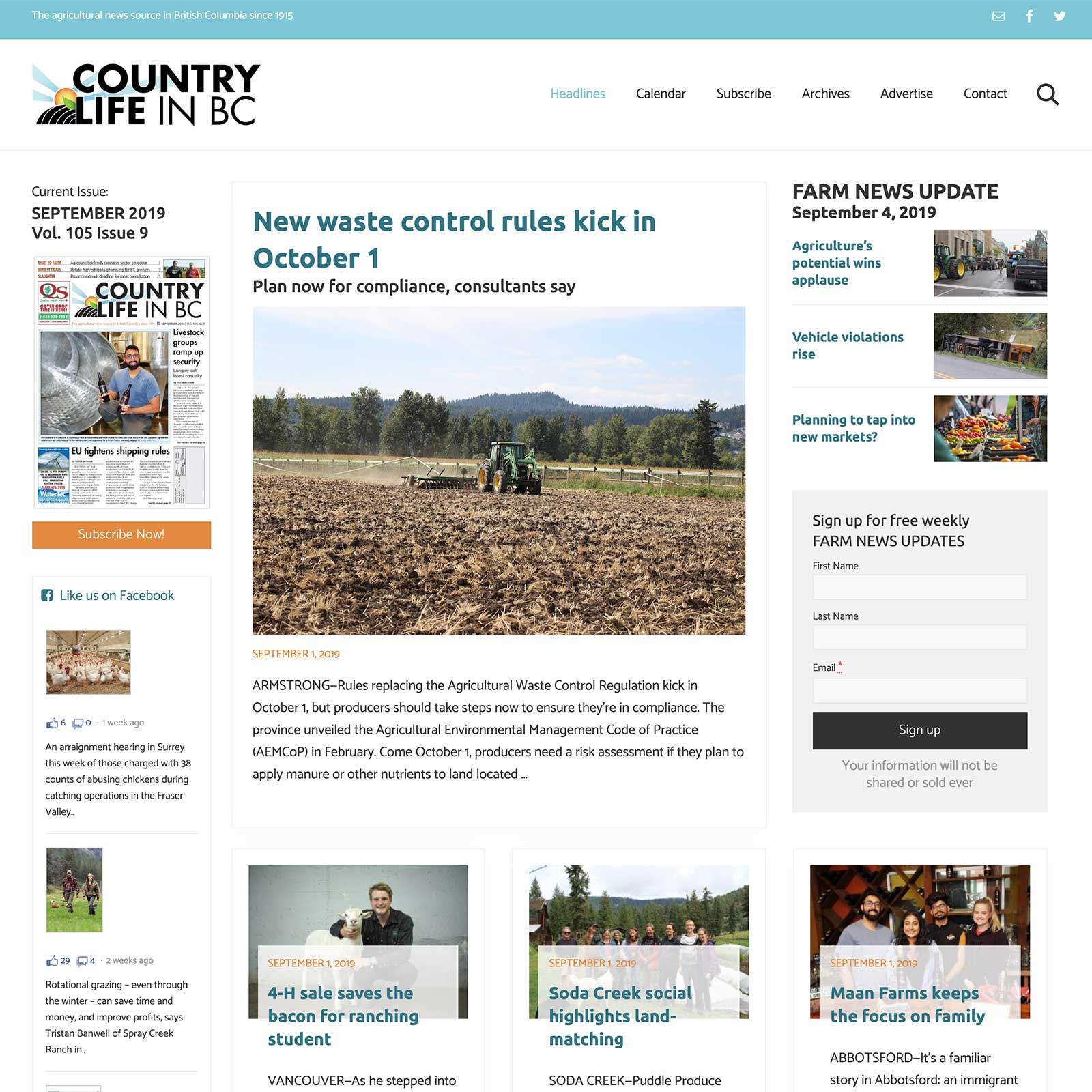Country Life in BC Agricultural Newspaper Custom Website